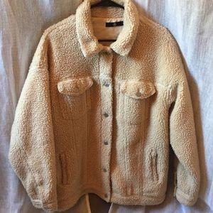 Cozy Cream Teddy Bomber Jacket
